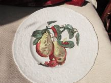 LARGE DISPLAY PLATE ROYAL CAULDON HAYWOOD PEAR TEXTURED RIM BOLD COLOURS 11.25""